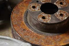 Rusty brake discs royalty free stock images