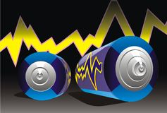 Accumulator alkaline art battery. Blue black charge charger Royalty Free Stock Image
