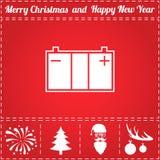 Accumulator Icon Vector. And bonus symbol for New Year - Santa Claus, Christmas Tree, Firework, Balls on deer antlers royalty free illustration