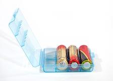 Accumulators. In small box with accumulators Stock Photo