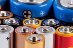 Accumulators and batteries. Miscellaneous accumulators and batteries close up Royalty Free Stock Image