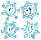 Accumulazione 1 dei fiocchi di neve del fumetto Immagini Stock Libere da Diritti