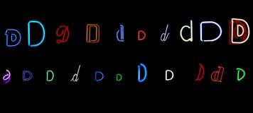 Accumulazione al neon della lettera D Immagini Stock