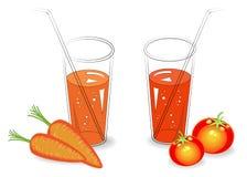 accumulazione Bevanda medicinale e saporita utile In un vetro di succo di verdura naturale, del pomodoro e delle carote mature de illustrazione vettoriale