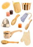 Accumulazione degli accessori del bagno Fotografia Stock Libera da Diritti