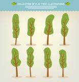 Accumulazione degli alberi disegnati a mano Fotografia Stock