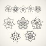 Accumulazione degli elementi di disegno Icone nere del fiore isolate su wh Fotografia Stock
