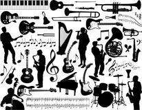 Accumulazione degli elementi di musica Fotografie Stock