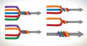 Accumulazione degli schemi delle frecce d'unificazione Fotografia Stock Libera da Diritti