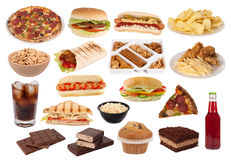 Accumulazione degli spuntini e degli alimenti a rapida preparazione Fotografia Stock