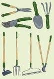 Accumulazione degli strumenti di giardinaggio disegnati a mano sudici Fotografia Stock Libera da Diritti