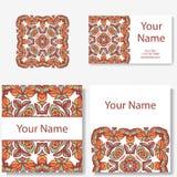 Accumulazione dei biglietti da visita Ornamento per la vostra progettazione con la mandala del pizzo Fondo di vettore Indiano, ar Fotografia Stock