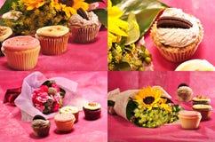 Accumulazione dei bigné con i fiori Fotografia Stock Libera da Diritti