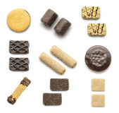Accumulazione dei biscotti su una priorità bassa bianca Immagini Stock Libere da Diritti