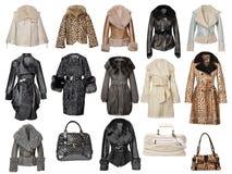 Accumulazione dei cappotti di pelliccia Fotografia Stock