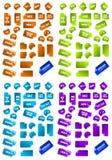 Accumulazione dei contrassegni multicolori di vendita. Fotografia Stock
