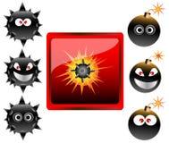 Accumulazione dei emoticons della bomba del fumetto   Fotografia Stock