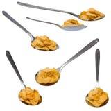 Accumulazione dei fiocchi di avena e del cucchiaio, isolata Fotografie Stock