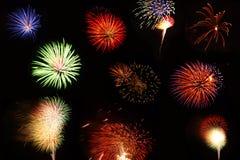 Accumulazione dei fuochi d'artificio Fotografie Stock