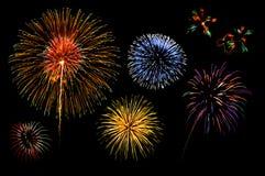 Accumulazione dei fuochi d'artificio Fotografia Stock