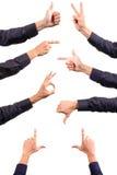 Accumulazione dei gesti di mano Fotografie Stock Libere da Diritti