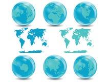 Accumulazione dei globi della terra con il programma di mondo Immagine Stock Libera da Diritti