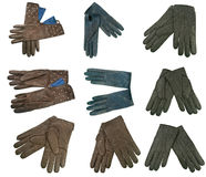 Accumulazione dei guanti di cuoio della donna Fotografie Stock Libere da Diritti