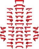 Accumulazione dei nastri volumetrici rossi Fotografia Stock