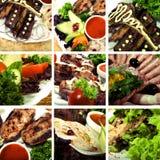 Accumulazione dei piatti della carne Immagine Stock Libera da Diritti