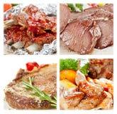 Accumulazione dei piatti della carne Immagine Stock