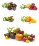 Accumulazione dei pomodori isolati su bianco Fotografia Stock