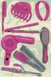 Accumulazione dei prodotti disegnati a mano sudici di cura di capelli Fotografia Stock Libera da Diritti