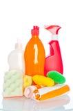 Accumulazione dei pulitori dell'igiene per lavori domestici Fotografie Stock