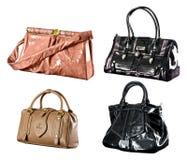 Accumulazione dei sacchetti della donna con il percorso di residuo della potatura meccanica Fotografia Stock