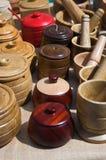 Accumulazione dei sugarbowls di legno Fotografia Stock