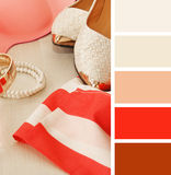 Accumulazione dei vestiti campioni della tavolozza di colore Fotografia Stock Libera da Diritti
