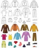 Accumulazione dei vestiti del Mens illustrazione di stock