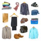 Accumulazione dei vestiti dell'uomo Fotografia Stock