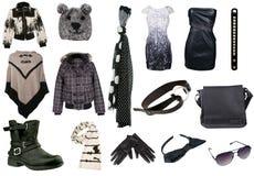 Accumulazione dei vestiti della donna Fotografie Stock