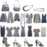Accumulazione dei vestiti e degli accessori grigi Immagini Stock Libere da Diritti
