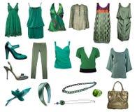 Accumulazione dei vestiti e degli accessori verdi Fotografia Stock
