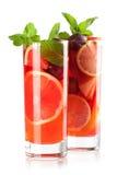 Accumulazione del cocktail: Sangria di rinfresco della frutta Fotografie Stock