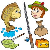 Accumulazione del pescatore del fumetto Immagini Stock Libere da Diritti