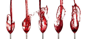 Accumulazione del vino rosso Immagini Stock