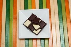 Accumulazione dell'alimento - cioccolato in bianco e nero Fotografie Stock Libere da Diritti