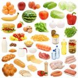 Accumulazione dell'alimento isolata su priorità bassa bianca Fotografie Stock
