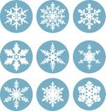 Accumulazione dell'icona dei fiocchi di neve Fiocchi di neve Fotografie Stock Libere da Diritti