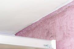 Accumulazione dell'umidità e della muffa sulla parete rosa Immagine Stock Libera da Diritti