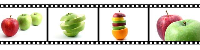 Accumulazione della frutta con la striscia della pellicola Fotografie Stock