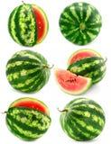 Accumulazione della frutta dell'anguria isolata Fotografia Stock